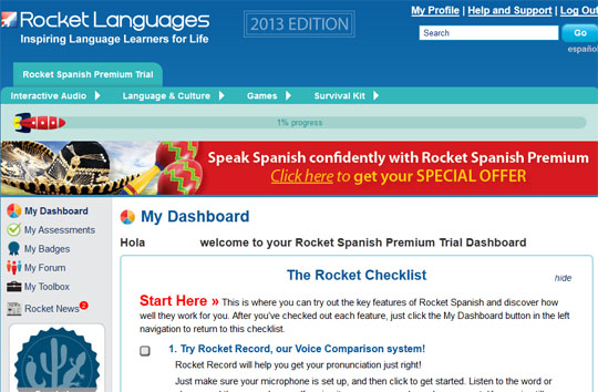 Rocket language learning software dashboard